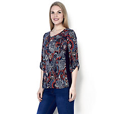 Antthony Designs Printed Tunic with Turnback Cuff