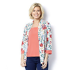 Bob Mackie Floral Print Cardigan with Sleeveless Top Set