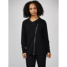 Knitted Biker Jacket with Zip Placket & Cuff by Michele Hope