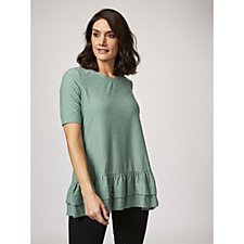 Swiss Dot Knit Tunic with Ruffle Hem by Nina Leonard
