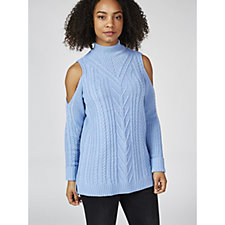 Knitted Cold Shoulder Roll Neck Jumper by Nina Leonard