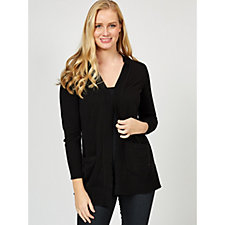 Isaac Mizrahi Live Open Front Rib Detail Cardigan with Shawl Collar