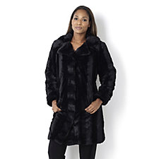 Dennis Basso Brushed Pelted Faux Fur Coat
