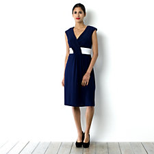 Tiana B V-Neck Drape Dress with Contrast Band Detail