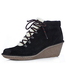 Clarks Marsden Grace Lace Up Faux Fur Trim Ankle Boot
