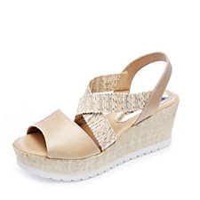 Adesso Holly Wedge Shoe with Leather and Stretch Straps
