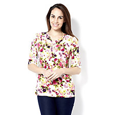 Kim & Co Charismatic Pansies Brushed Venechia Elbow Sleeve Top