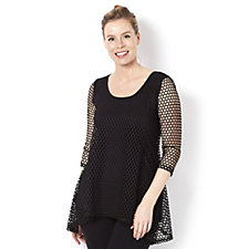 Attitudes by Renee 3/4 Sleeve Crochet Tunic with Jersey Bodice