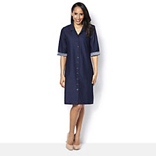 Kim & Co Deluxe Denim Knit Elbow Sleeve Shirt Dress with Ruched U-Neck