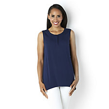 H by Halston Round Neck Sleeveless Placket Front Top