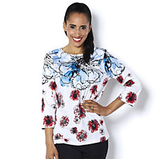 159556 - Artscapes Patriotic Roses 3/4 Sleeve Round Neck Top