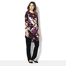Attitudes by Renee Printed Radien Knit Asymetric Tunic with Solid Pull On Pant