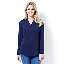 Isaac Mizrahi Live Essentials Knitted Wrap Collar Tunic