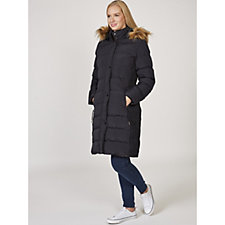 Rino & Pelle Padded Long Line Puffer Jacket with Faux Fur Hood