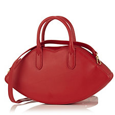 Lulu Guinness Carlotta Lips Leather Cross-Body Bag w/ Adjustable Strap