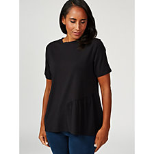ModernSoul Asymmetrical Ruffle Short Sleeve Top