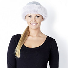 Dennis Basso Knitted Hat with Contrast Faux Fur Trim