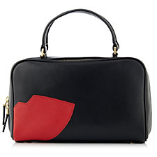 149557 - Lulu Guinness Connie Small Abstract Lip Smooth Leather Handbag