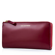 Lulu Guinness Polished Leather Zip Around Wallet