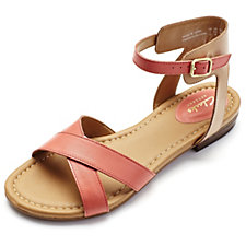 Clarks Viveca Zeal Leather Strappy Sandal Wide Fit