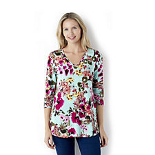 Kim & Co Printed Brazil Knit 3/4 Sleeve Tunic