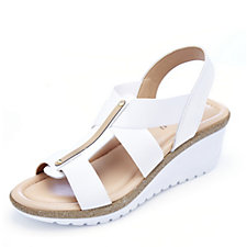 158057 - Adesso Sofia Elastic Open Toe Strap Wedge Shoe with Gold Bar Detail
