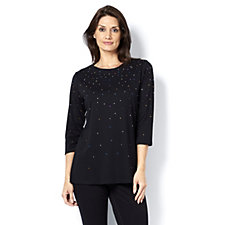 Quacker Factory Embellished Tunic with Side Slits