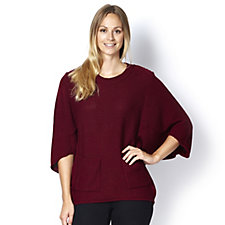 Round Neck Jumper with Batwing Sleeves & Front Pockets by Nina Leonard