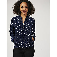 Printed Peachskin Zip Front Bomber Jacket by Susan Graver