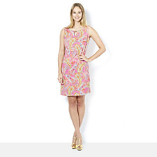 Ronni Nicole Printed Sleeveless Shift Dress w/ Keyhole Detail