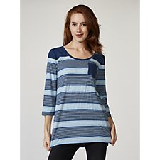 Isaac Mizrahi Live True Denim 3/4 Sleeve Striped Tunic with Hi Lo Hem