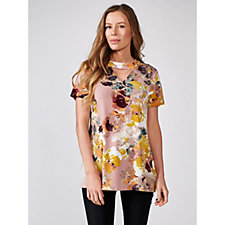 Short Sleeve Stretch Crepe Printed Top by Nina Leonard