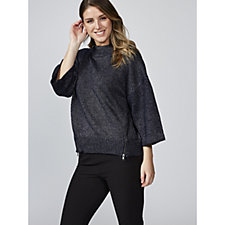 Andrew Yu Sparkle Knitted Dolman Sleeve Rib Neck Jumper