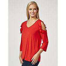 Together Cold Shoulder Frill Detail Top