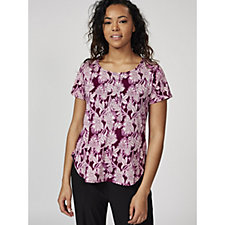 Antthony Designs Short Sleeve Printed Top with Hi Lo Hem