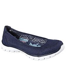 Skechers EZ Flex Beautify Crochet Lace Ballet Style Slip On Shoe