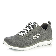 Skechers Flex Appeal 2.0 Qtr Stitch Lace Up Jersey Shoe with Memory Foam