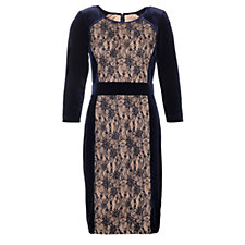 Trinny & Susannah 3/4 Sleeve Round Neck Velvet & Lace Dress