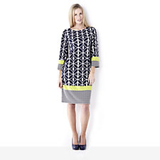Tiana B Geometric Print Dress with Contrast Border Hem Detail