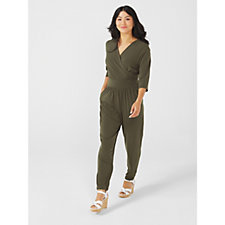 Kim & Co Brazil Knit 3/4 Sleeve Jumpsuit