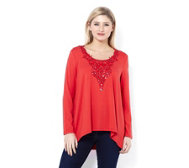 Fashion by Together Crochet Neckline Tunic with Sequins