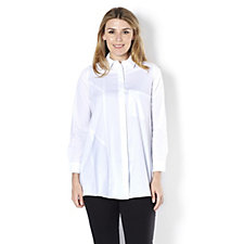 Yong Kim Stretch Button Through Blouse with Pocket Detail