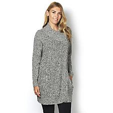 Denim & Co. Long Sleeve Wrap Front Marled Cardigan