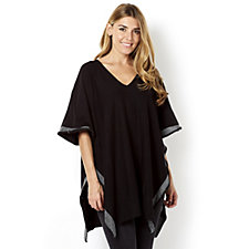 Knitted Poncho Contrast Knit Hem by Michele Hope