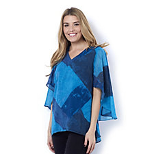 H by Halston Woven V Neck Printed Cape Top