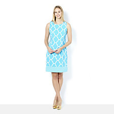 Ronni Nicole Tile Print Sleeveless Shift Dress with Contrast Hem