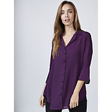 V Neck Chiffon Top with Flare Sleeves by Michele Hope