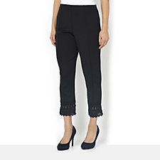 Grace Pull on Trouser with Crochet Trim Hem