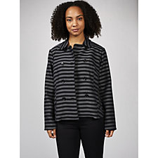 Isaac Mizrahi Live Striped Double Breasted Miltary Jacket