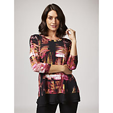3/4 Sleeve Printed Tunic with Tiered Chiffon Hem by Nina Leonard